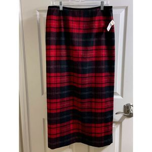 Talbots size 12 maxi lined straight plaid skirt